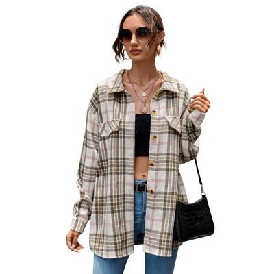 Female Spring Street Blouse Shirts Vintage Oversized Plaid Flannel Boyfriend Tunic Shirt