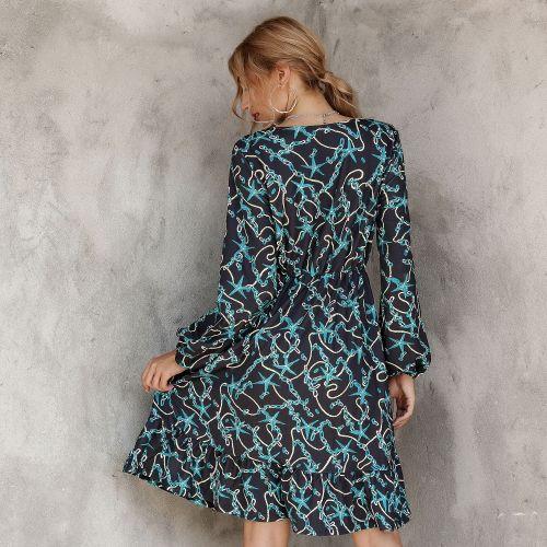2021 New Fashion Print Spring Summer Fashion Women's Dress Long Sleeve High Waist O Neck Sexy Women's Chic Dress