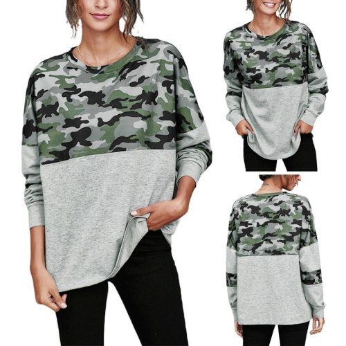 European and American autumn and winter hot round neck long sleeve camouflage stitching casual loose clothes women