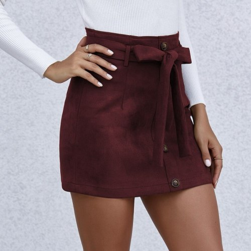 Autumn Winter Women Skirts Fashion Elastic High Waist Bandage Belt Mini Skirts Casual Button Solid Color Slim A-line Skirt