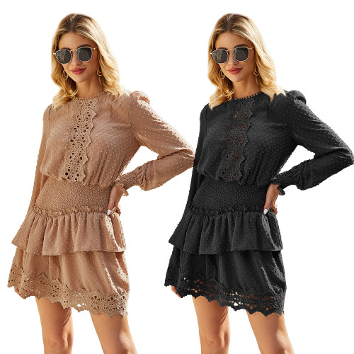 Elegant party chiffon lace dresses women hollow out short casual polka dot dress pink plus size dresses vestidos
