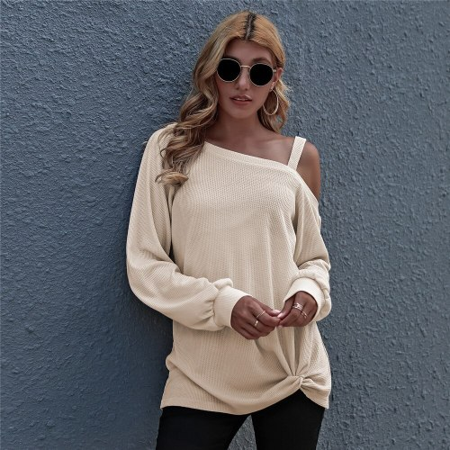 Autumn Women's Cold Shoulder Tops Casual Long Sleeve Twist Knot Front Blouses Solid Color T-Shirts