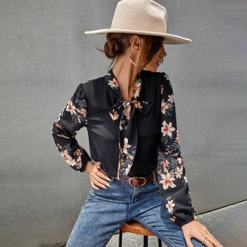 Long Sleeve Shirt For Women Autumn Tops Blouse Ladies Bow Collar Black Shirt Fashion Female Blusas Elegantes Floral Patchwork