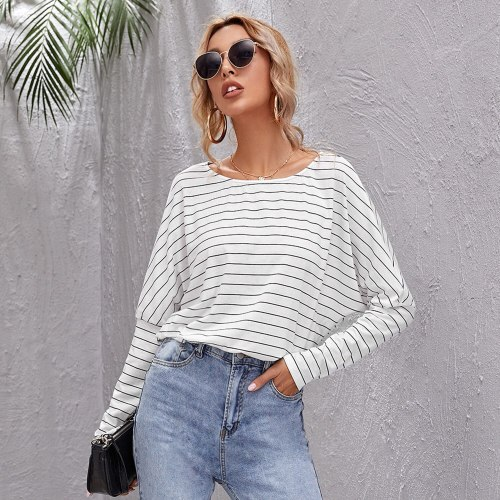 Women Striped T Shirt Tops Casual Batwing Long Sleeve Office Loose  Tees Top 2021 Autumn New Fashion Elegant Home Wear Clothing