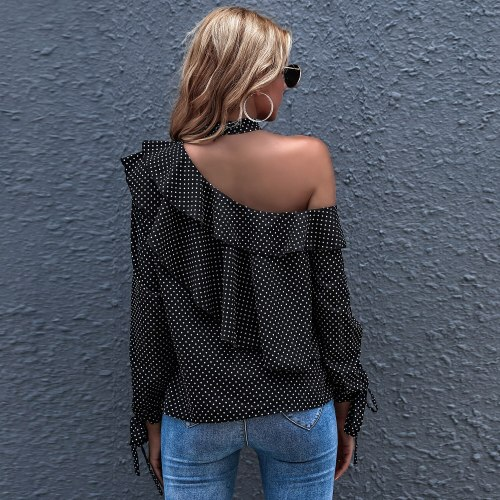 Ruffles Polka Dot Shirts for Women Sexy Tops  Off Shoulder Top Long Sleeve Skew Collar Casual Spring Autumn