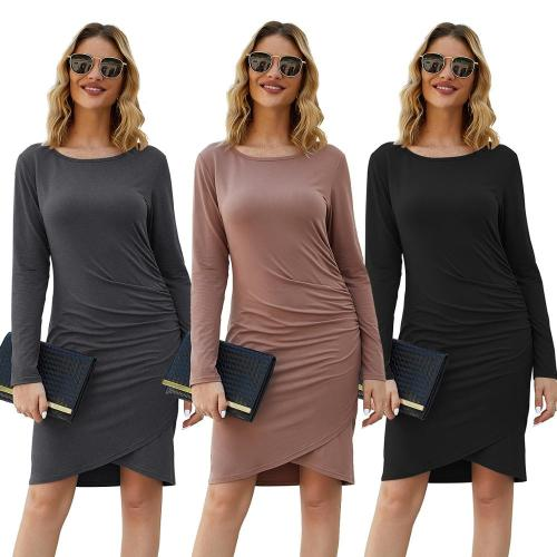 European and American spring and autumn high-quality women's satin luxury fashion sexy bag hip Slim irregular long-sleeved dress