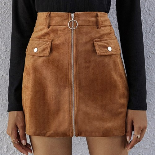 High Waist Mini Skirts Womens Autumn Winter Casual Solid High Quality Zipper Sexy A-Line Skirt Elegant Female Bottom