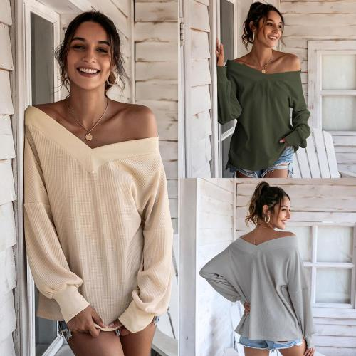 European and American hot style sexy fashion women's clothing solid color V-neck fashion top casual elegant women's clothing