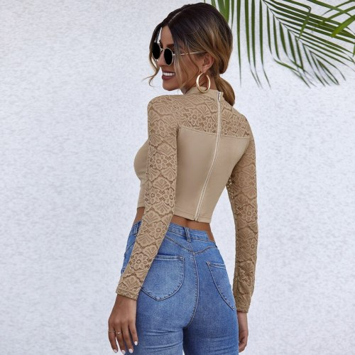 Fall 2020 sexy Crochet Lace low-cut long-sleeved top