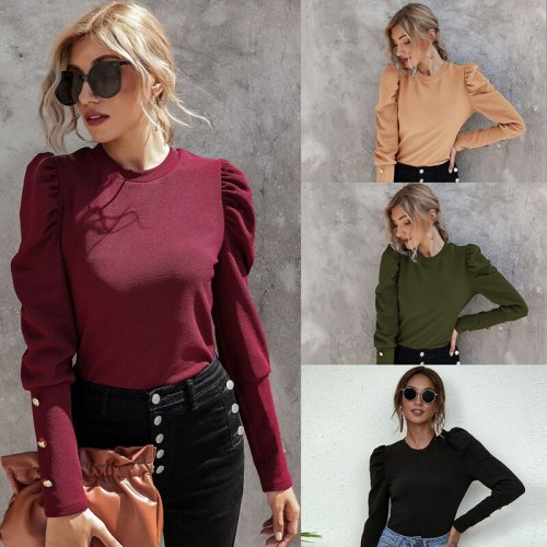 2021 Spring Autumn New Fashion O Neck Women's T Shirt Casual Bodycon Solid Lantern Sleeve Three Buttons Ladies T Shirts