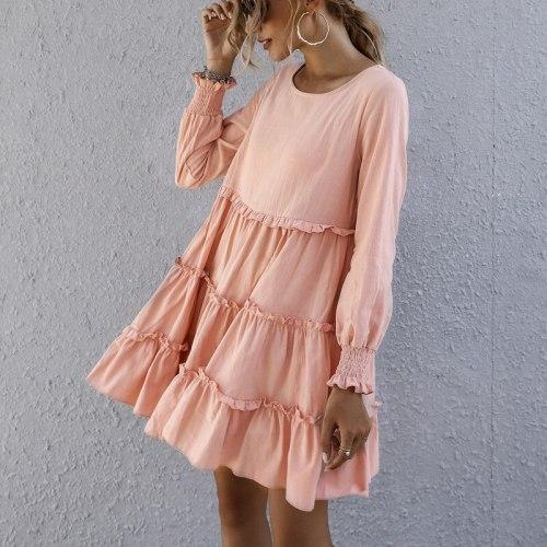 Autumn Women's Solid Color long Sleeve Loose O Neck Ruffle Dress A-Line Vintage mini dress elegant women dress vestidos
