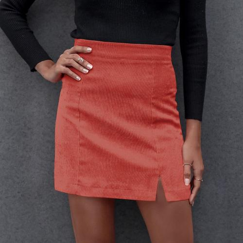 New Women Summer Mini Skirt Solid Color Slimming Small Split High Waist Skirt Streetwear
