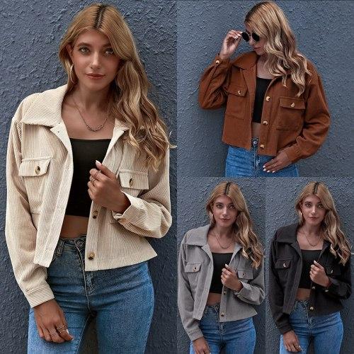 2021 Fall/WinterJacket Women's Fashion Casual Solid Color Top Coat Elegant Women's Coat Chic Coat