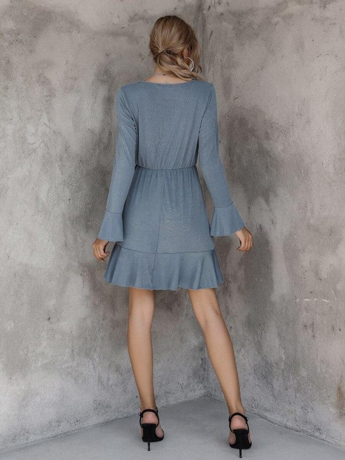 Solid blue ruffle dress women autumn winter short dress button elegant ladies long sleeve cozy casual dress female