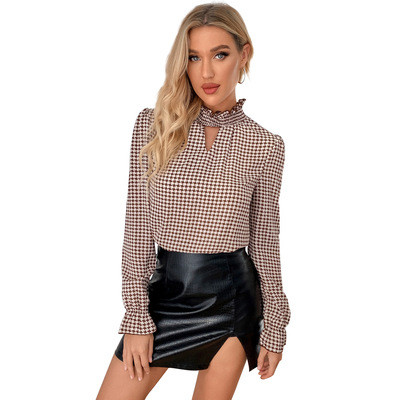 2021 Spring Summer Elastic Clothes Houndstooth T-shirt Sexy Hollow Out Women Tops