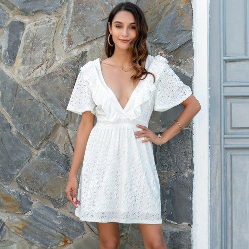 Fresh A-line Solid Split Dress Elegant V-neck Empire Half Butterfly Sleeves Ladies Frocks for Women Casual Zippers Mini Vestidos
