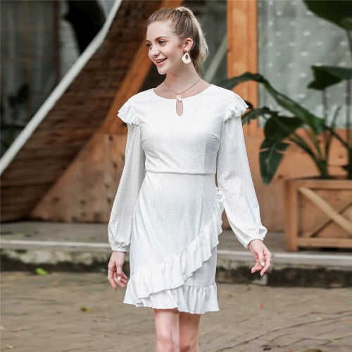 Elegant Women O-neck Ruffles Mini Dress Vintage Autumn Winter Dress Ladies Casual Lantern Sleeve Sweet White Dress Vestidos