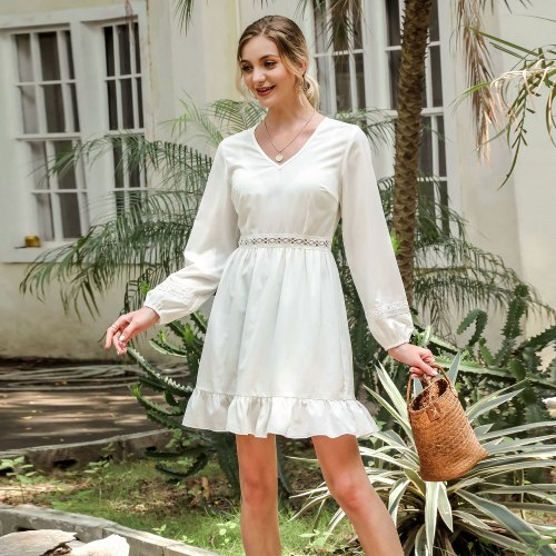 Summer 2021 New Fashion Chic Ladies White Party Dress  High Waist V Neck Long Lanern Sleeve Women's Casual Dress