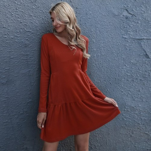 Women's Solid Color Loose V-Neck Long Sleeve Dress Brown