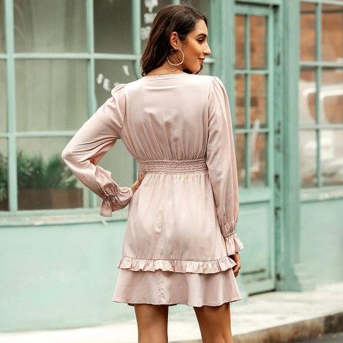 Women Fashion Bowknot Elastic Waist Dress Autumn Solid Color Ruffle Hem Petal Long Sleeve Dresses