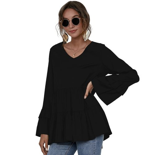 2021 Women Blouse Bohemian High Low Shirt Summer V Neck Flare Sleeve Pleated Tops Vintage Blusas Robe Femme Tunic