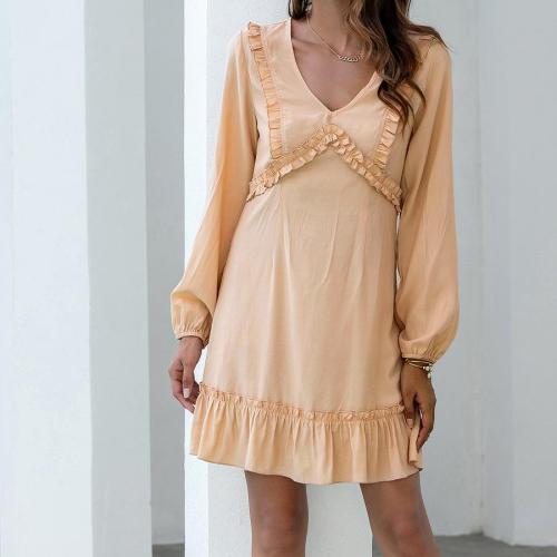 Elegant Fashion Dresses Women Autumn Sweet High Waist Solid Long Puff Sleeve V-Neck Ruffles A Line Casual Mini Dress