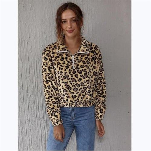 Winter Women's Warm Plush Top Lapel Zipper Long-sleeved Pullover Fashion Leopard Print Ladies T-shirt Street Wear