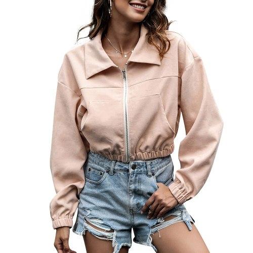 Autumn Women's Fashion Zipper Jacket Short Coat Women Elastic Waist Solid Pocket Trun-down Collar Long Sleeve Coat Female Jacket