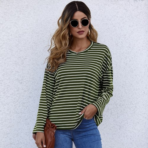 2021 New Spring Autumn Tops Women Striped T Shirt Casual Long Sleeve Oversized Loose Tee Shirt Fashion Ladies Top Tees