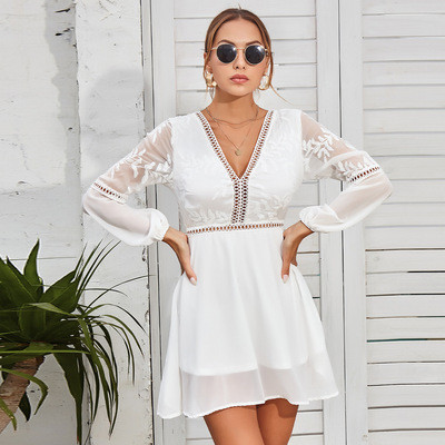 Elegant Women Summer Casual Boho Backless Sleeve Hollow-out Solid Dress Evening Party Summer Beach Sundress