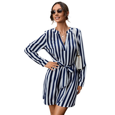 2021 Autumn Stripe Print Loose And Plus Size Fashion Shirts V-Neck Long Sleeve Fashion Ladies OL Office Casual Streetwear