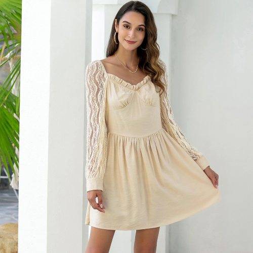 Pure Color Lace Stitching Lady Temperament Sweet Women's Dress V Neck High Waist Sexy Fashion Spring Summer Ladies Dress