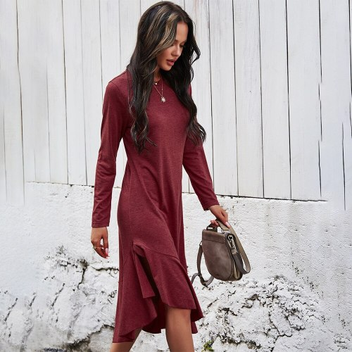 Long Dress Fashion Solid Elegant Ladies Long Sleeve Ruffle Asymmetrical Dresses For Women Spring Autumn Clothes New Arrival 2021