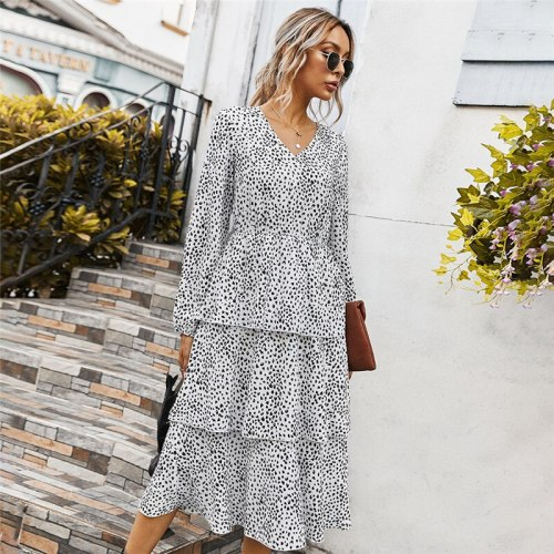 Autunm Winter Fashion Cascading Ruffle Print Dress Women 2021 New Casual Full Sleeve Slim Mid Calf Dress Female Office Lady