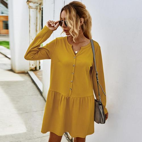 Women's Spring Mini Dress Long Sleeve Single Breasted V Neck Back To the Basics Patchwork Knitting Clothing