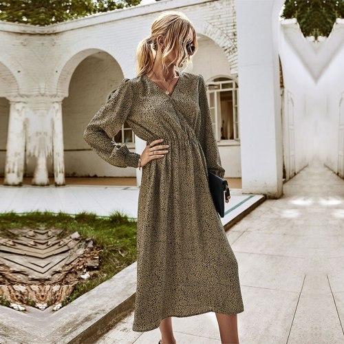 Autumn Winter Office Lady Print Dress Women 2021 New Full Sleeve V-neck High Waist Long Dress