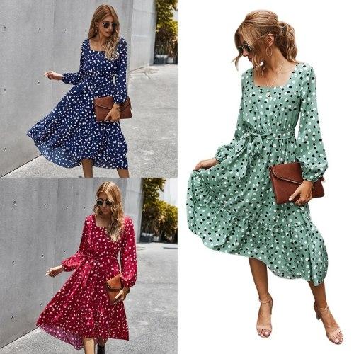 Women Polka Dot Elegant Square Collar Long Sleeve Waist Belt  Dress Casual Summer Loose Streetwear Clothes