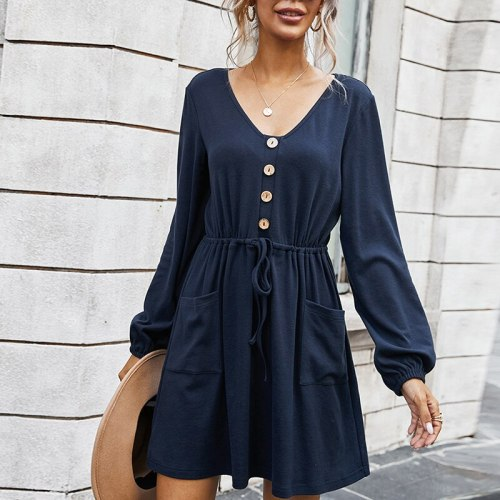 Elegant Solid Women Dress Sexy V-Neck Long Sleeve Drawstring Button Office Lady Mini Dresses With Pockets