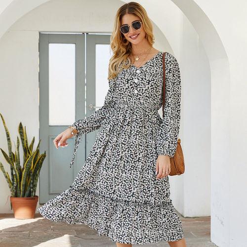 Elegant 2021 New Ladies Medium Long Floral Print Dress Women V Neck Single Breasted Full Length Slim Spring Summer Dress
