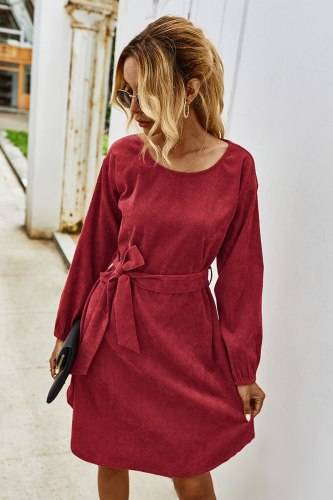 2021 Fashion Trend Women Elegant Corduroy Mini Dress Autumn New Round Neck Long Sleeve Solid Color Fall Dress with Belt Decor