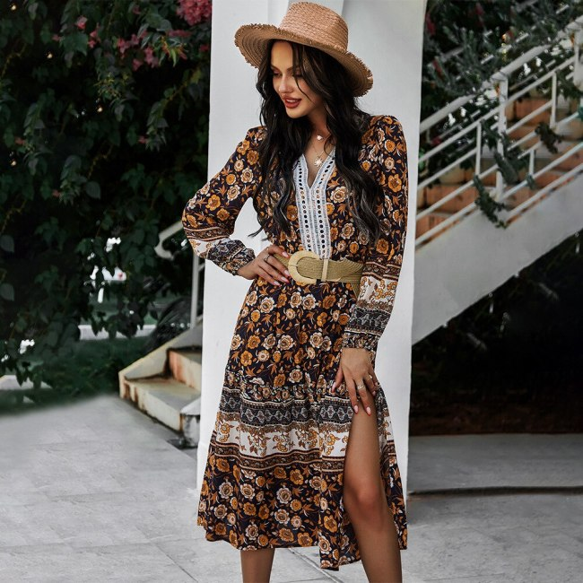 Spring Summer Print Dress Women Casual Holiday High Waist Lace V Neck Slim Long Dress For Women New Fashion