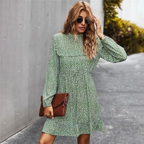 Autumn Winter Elegant Slim Print Dress Women 2021 New O Neck High Waist Full Sleeve Dress Female Office Lady