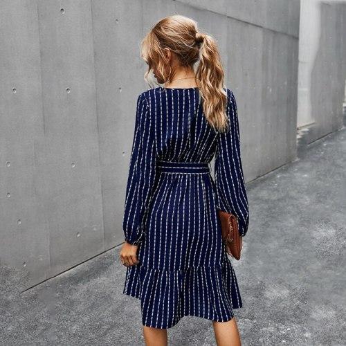 Women Puff Long Sleeve V-Neck Loose Midi Dress Elegant Striped Printed Belted High Waist Pleated Flowy Solid Streetwear