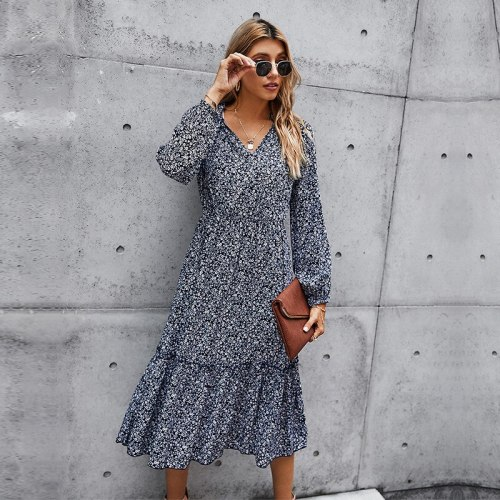 Autumn Winter Print Dress Women Casual High Waist Full Sleeve Slim Elegant Long Dress For Women 2021 New Fashion