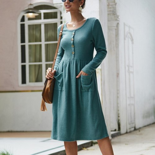 New A Line Dresses Women Autumn Winter Dress Vintage Long Sleeve Dress Ladies Office Midi Dress Buttons O Neck Vestidos