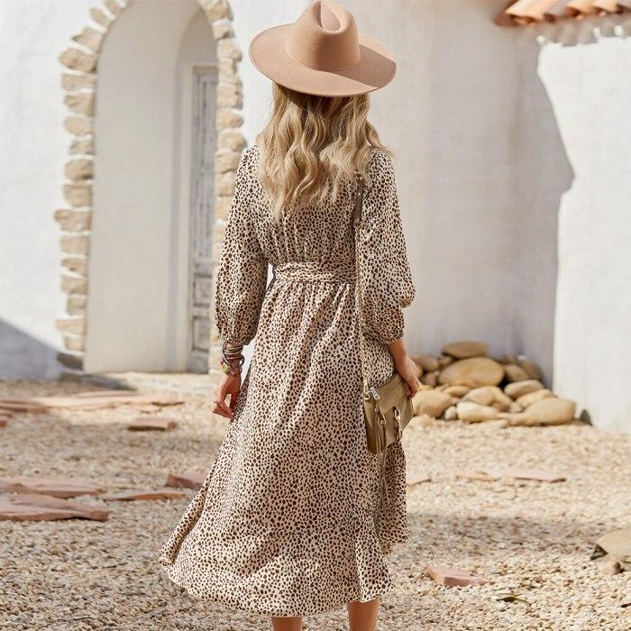 Autumn 2021 High Waist Leopard Dress Vintage V-neck Mid-calf Ladies Frocks Casual Long Sleeve Bandage Dresses for Women Vestidos