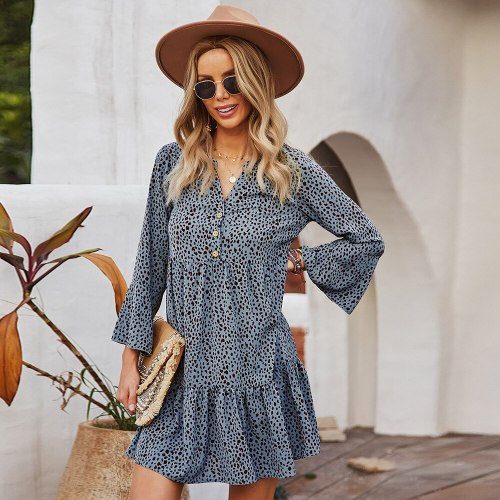 Autumn 2021 Loose Waist Leopard Dress Vintage Pullover Ruffles Ladies Frocks for Women Casual Straight Long Sleeve Dress Vestido