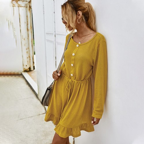 Women's Dress Autumn Winter Long Sleeve Mini Skater Party Dresses for Women Casual Lace Up Button Ruffles O Neck Woman Clothing