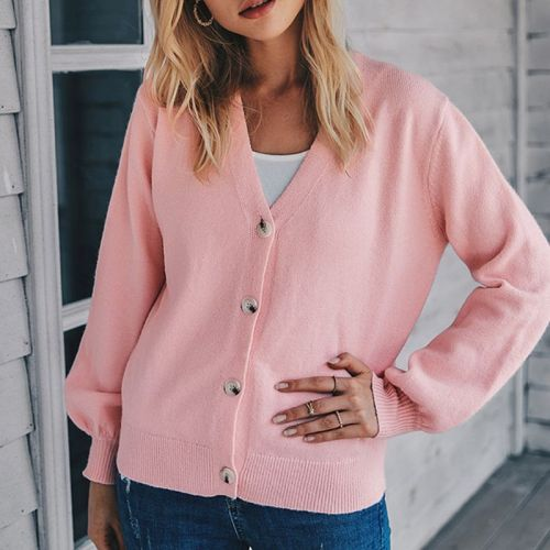 Women Long Sleeve Knitted Sweater Tops Solid Color Open Front Slim Cardigan Button Down V-Neck Coat Outwear