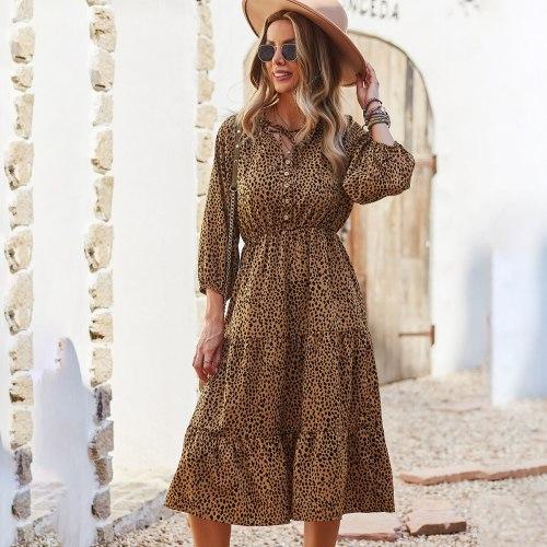 Autumn 2021 Ruffles Lace Up Leopard Dress Elegant High Waist Ladies Frocks for Women Casual Mid-calf Long Sleeve Dress Vestidos